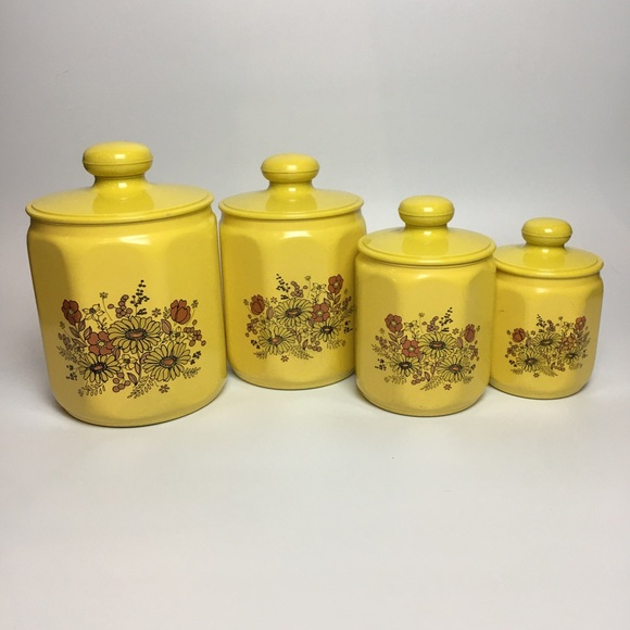 Vintage Kitchen Canister Set Yellow Floral 60s
